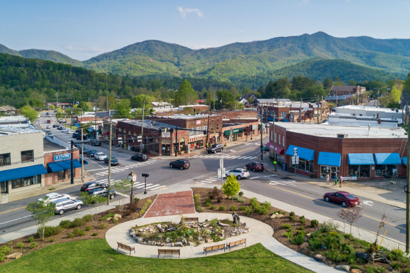 A view of downtown Black Mountain, North Carolina
